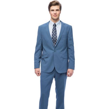 Graduation Slim Fit One-button closure Suit For Boy / Guys Blue