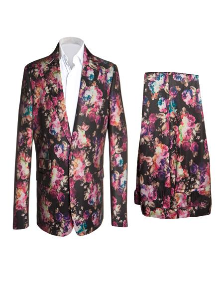 ID#KA30259 Floral Fashion Suits Flat Front Slim Pant Black Fuchsia