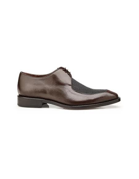 Belvedere Mario, Exotic Stingray and Italian Calf, Blucher Dress Shoes, Style: 3B9 - Brown