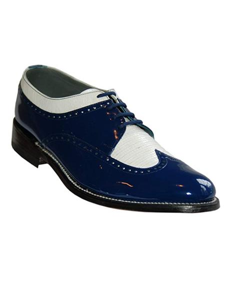 Stacy Baldwin men's Wide Eee Width Wingtip Two Toned Dress All Leather 1920's Gangster Vintage Style Oxfords Blue and White
