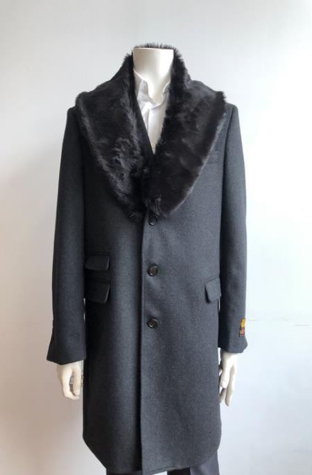 Long Jacket Ticket Pocket Designer men's Wool Peacoat Sale ~ Wool men's Car Coat Mid Length Three quarter length coat ~ Overcoat With Fur Collar Charcoal
