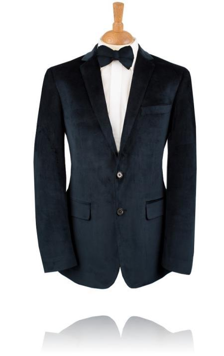 Blue Velvet Tuxedo Jacket, by Black Label velour men's Blazer 2 Button Jacket
