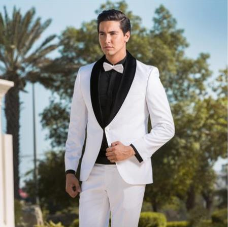 Two Toned Tuxedo White & Black Velvet Lapel Shawl Lapel Suit velour men's Blazer Jacket