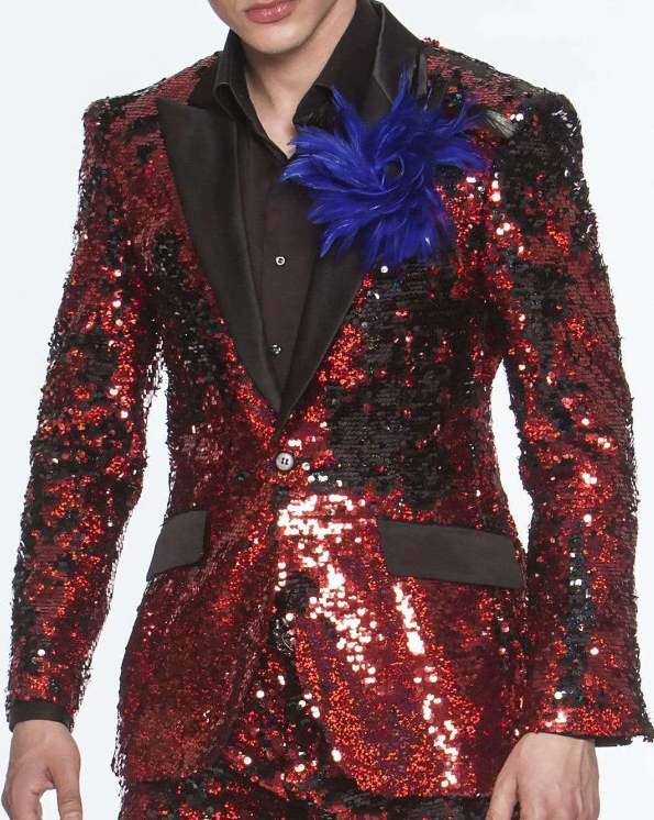 ID#SP31311 Limited Edition Pre order Feb/30/2020 men's Sequin Suits Red Perfect For Stage Tuxedos For Prom / Wedding