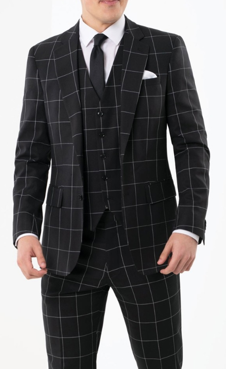 1920s Style men's Fashion Black Plaid ~ Windowpane Vested 3 Piece 1940s Style Gangster Checkered Suit