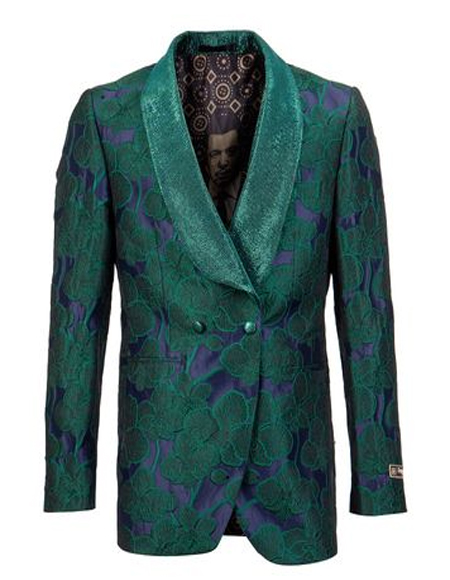 Double Breasted Blazer Floral ~ Velvet Blazer Tuxedo Dinner Jacket Fashion Sport Coat + Green Blue