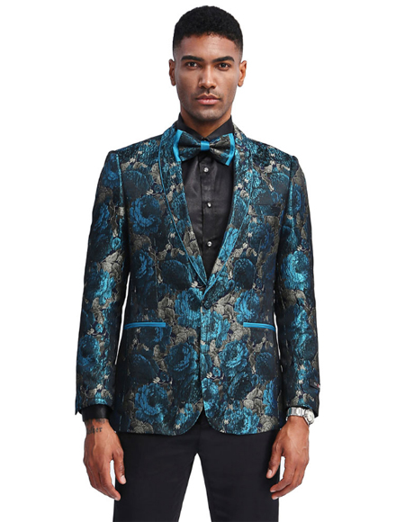 Prom ~ Wedding Teal Blue ~ Turquoise Color Tuxedo Jacket Blazer Sportcoat