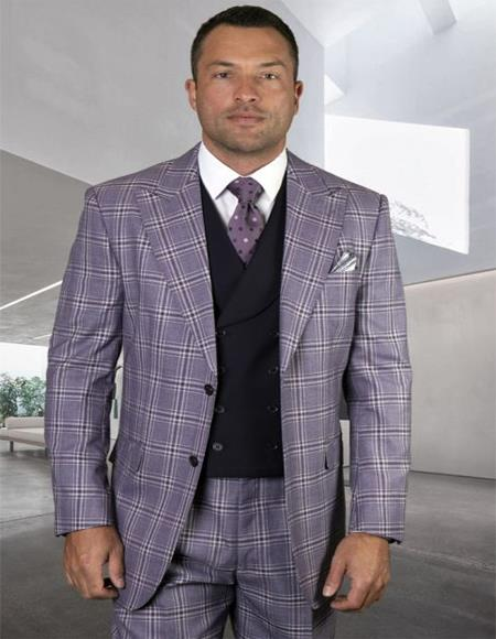 ID#KA32038 Windowpane Vested 3 Piece Double Breasted Eggplant Mens Plaid - Checkered Suit