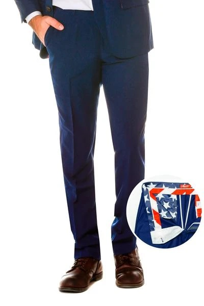 ID#KA32313 Mens 100% Business Slim Fit Polyster Fabric Dress Slacks Navy Pants
