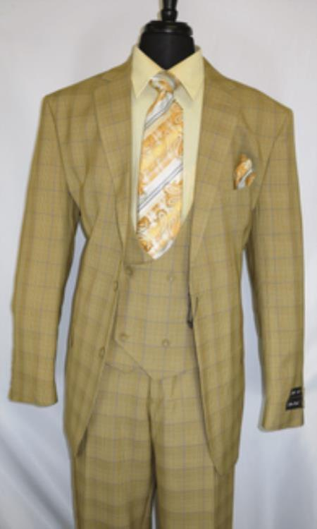1920s Checkered Pattern Vintage Tan Suit