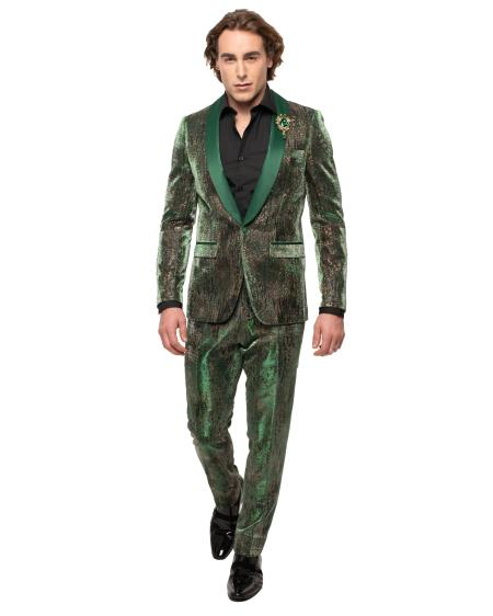 men's Fashion Wedding ~ Prom Suit Dark Green Tuxedo ~ Jacket and Pants