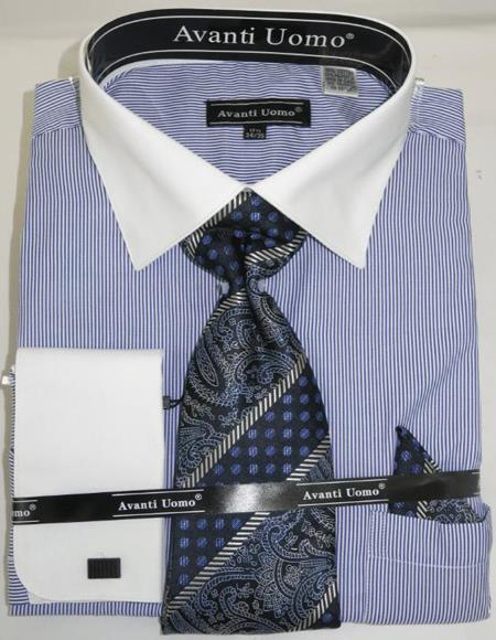 Royal Pencil Stripe Colorful Mens Fashion Dress Shirts and Ties