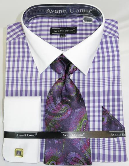 men's Spread White solid Collar Plaid - Checker Pattern White Collared French Cuffed French Cuff Lavender Colorful Mens Fashion Dress Shirts and Ties