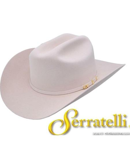 Serratelli 100X Cali EL Comandant White 3 1/2 Brim Western Cowboy Hat all sizes