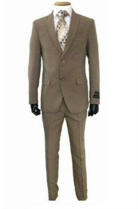 2 Buttons Dark Tan Slim Fit Suit
