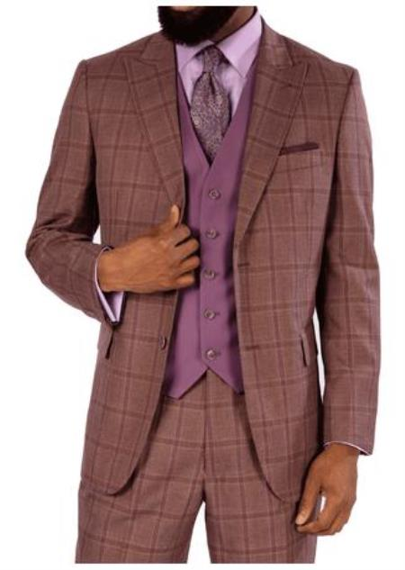 men's Steve Harvey Suits Mauve Two Button Jacket 119723 OS Suit - Vested fashion Suit- Wool Fabric Suit