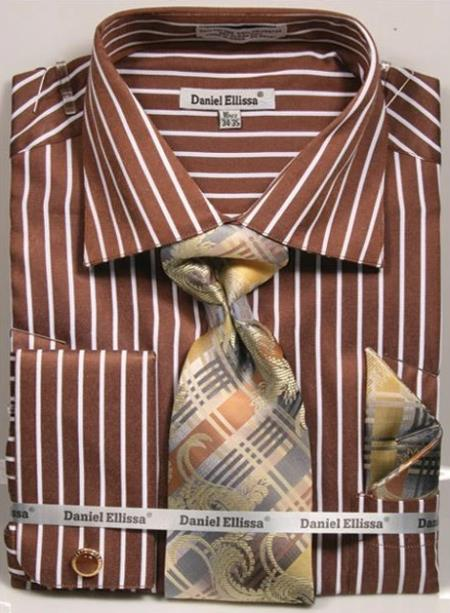 Regular Fit French Cuff Shirt Set Bold Stripe Brown