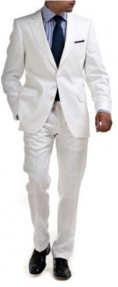 White 2 Button linen suit