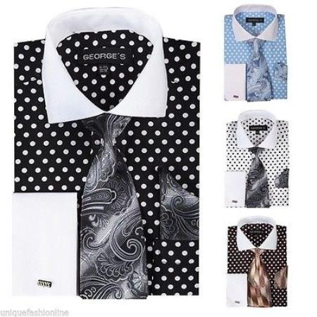 White Polka Dot French Cuff Dress Shirt With Tie