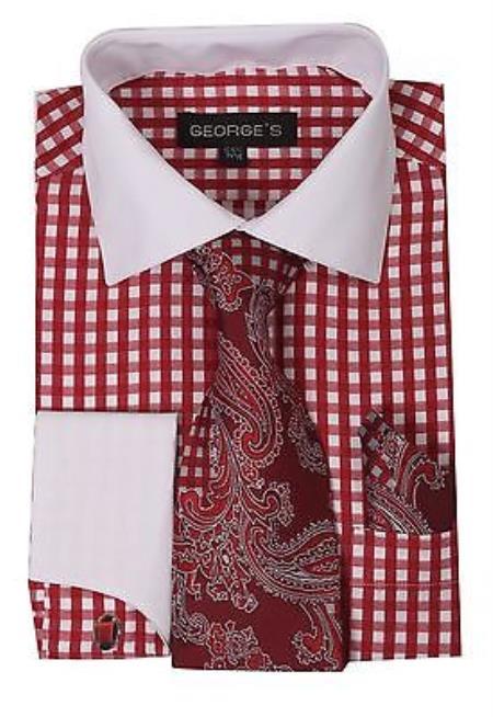 Checker Dress Shirt French Cuff Combo Tie Handkerchief Vari