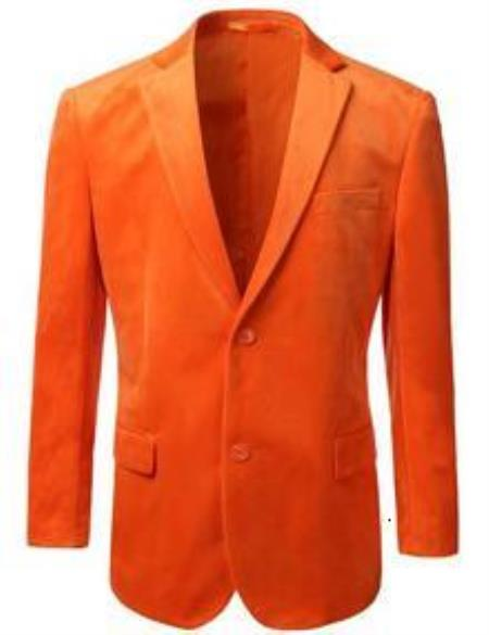 195139196f9 ID ET34C American Regular-Fit Two buttons Velvet Sportcoat Jacket Orange  Best Cheap Blazer For Men Affordable Sport Coats Sale