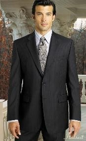 ID#QM2040 2pc 2 btn Pinstripe Dark Charcoal Masculine color Grey Suit Superior fabric 150's with Hand Pick Stitching on Collared
