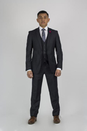 buttons Notch Collared Suit