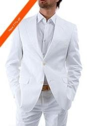 ID#VG9922 2-Button White Suit + White Shirt Off White Wedding Suits For Men For Sale - All White Suit