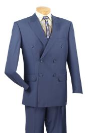 ID#RD6790 2 Piece Cobalt ~ Bright Light Blue Perfect for wedding Indigo ~ (Slate)  - Double Breasted Mens Teal Suit