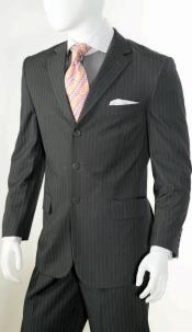 ID#KA5487 2 Piece Classic - Pinstripe Grey Large Man ~ Plus Size Big And Tall Mens Suits