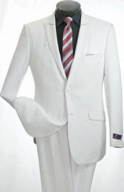 ID#KS6783 Vittorio St. Angelo 2 Piece Slim Suit - Narrow Peak Collared White