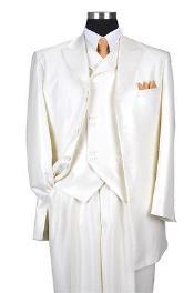 "ID#V629T 3 Piece Cream Luxurious Wool fabric Feel Herringbone Tweed Stripe 35"" Jacket"
