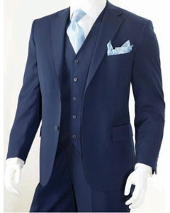 ID#KA4797 3 Piece Classic Cheap Priced Fitted Tapered cut Suit Navy
