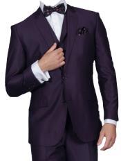 3 Piece Sharkskin Suit Flat Front Pants Shiny Flashy Satin Silky Metallic–Very Dark Purple pastel color