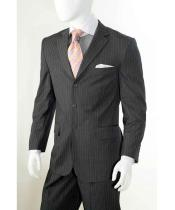 ID#SM674 Three button Grey Banker Chalk Pinstripe ~ Stripe Notch Collared Athletic Cut Pleated creased Pants