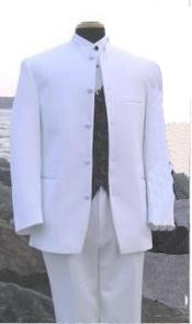 ID#MU105 Snow White Online Indian Wedding Outfits - Mandarin - Nehru Collar Jacket Collarless Style 5 Button Oriantal Suit