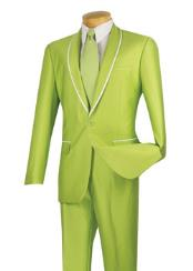 ID#VJ15424 Shiny Shawl Collar White Trimmed Slim Fit Apple Lime Neon Green Tuxedo Looking Suits