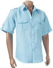Blue Short Sleeve Button