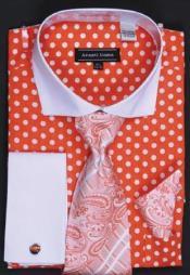 ID#AC-419 Avanti Uomo Orange Polka Dot Two Tone Design Cotton Dress Cheap Fashion Clearance Shirt Sale Online For Men / Tie / Hanky Combo With Free Cufflinks