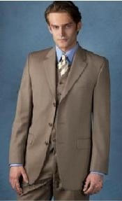 Beige Color Three Button Suit