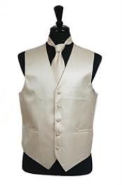 ID#VS2022 Horizontal Rib Pattern Groomsmen Wedding Vest For Groom and Groomsmen Groomsmen Ties Combo Beige