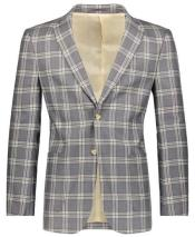 ID#DB24403 Beige/Gray Slim Fit Plaid ~ Windowpane ~ Checker Best Cheap Blazer For Affordable Cheap Priced Unique Fancy For Men Available Big Sizes on sale Men Affordable Sport Coats Sale