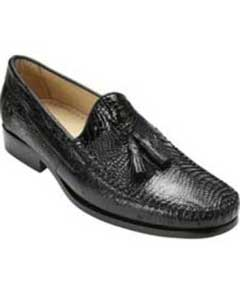 ID#TF6734 Authentic Belvedere Shoes - Mens exotic shoes Formal  Dark color black Genuine Caiman skin ~ Gator skin & Ostrich Slip On ~ Mens Prom Shoes Stylish Dress Loafer