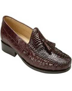ID#HG5200 Authentic Belvedere Coco Chocolate brown Mens Prom Shoe Genuine Caiman skin ~ Gator skin & Ostrich Slip On ~ Stylish Dress Loafer