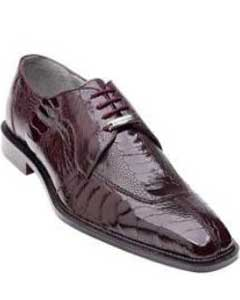 ID#AC26Z Authentic Belvedere Siena Ostrich Lace Up Cheap Priced Exotic Skin Shoes For Sale for Men Burgundy