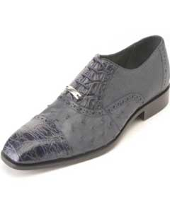 ID#HK5630 Authentic Belvedere Shoes - Mens exotic shoes Navy Ostrich & crocodile skin ~ Gator skin