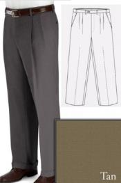 ID#PN-V67 Big and Tall Dress Pleated Pants Slacks For Tan ~ Beige