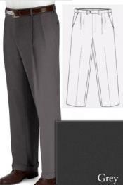 Big and Tall Dress Pleated Pants Slacks For Grey