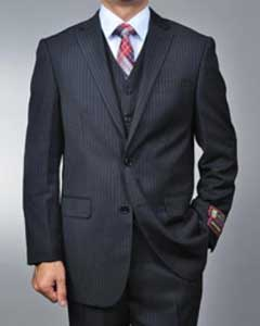 ID#RR5698 Dark color black Pinstripe 2-button Vested 3 ~ Three Piece suit