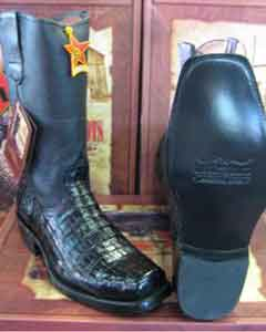 ID#6UB3 Authentic Los altos Dark color Formal Shoes For Men black Caiman skin ~ Gator skin Belly western Biker Motorcycle Dress Cowboy Boot Cheap Priced For Sale Online